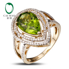 New Arrivals Wholesale 14k Yellow Gold Peridot Ring, Free Shipping, Fashion(China)