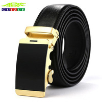 Genuine Leather Belt For Men Gold Metal Automatic Buckle 2017 New Fashion Casual Formal Business Belts