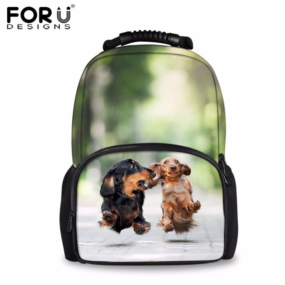 FORUDESIGNS Cute 3D Dachshund Dog Casual Shoulder Backpack For Women Men Student School Bags Travel Backpacks Laptop Bag Mochila