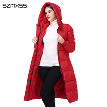 2018 новая зимняя парка Женская мода тенденция тонкий хлопчатобумажное пальто и длинные с капюшоном сплошной цвет Теплая хлопчатобумажная одежда Длинные рукава mujer