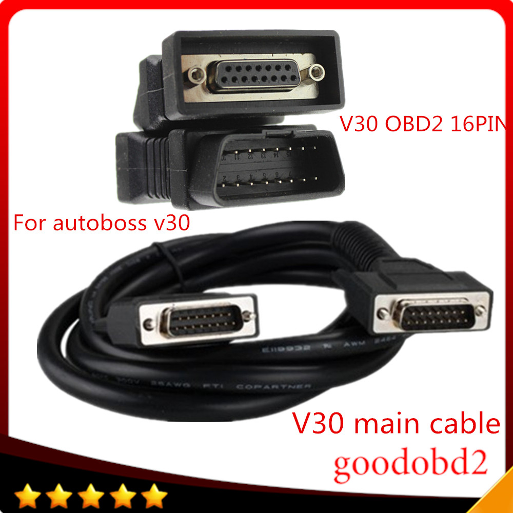 For Autoboss V30 16 Pin OBD II Adapter Car Diagnostic Obd2 Connecter OBD OBD-II  Connector 16pin Connector +V30 Main Cable