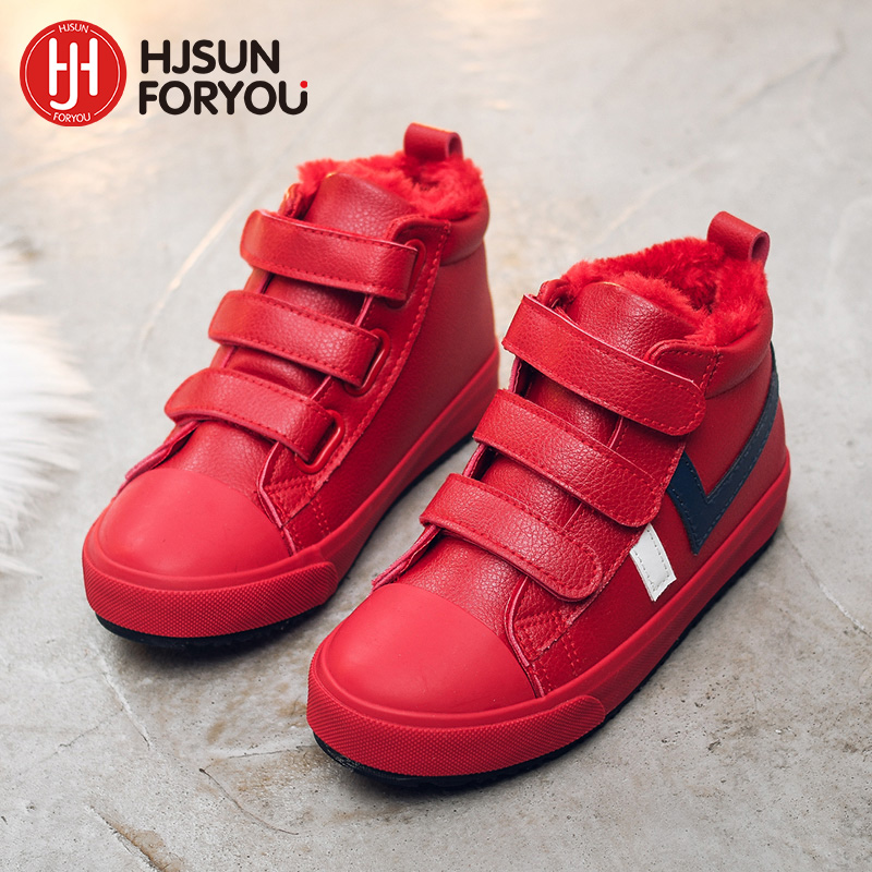 2018 Winter Kids Boots brand boys girls warm leather sneakers fashion footwear children casual shoes plush non slip sport shoes xemonale breathable children shoes girls boys shoes brand kids leather sneakers sport shoes fashion casual children boy sneakers