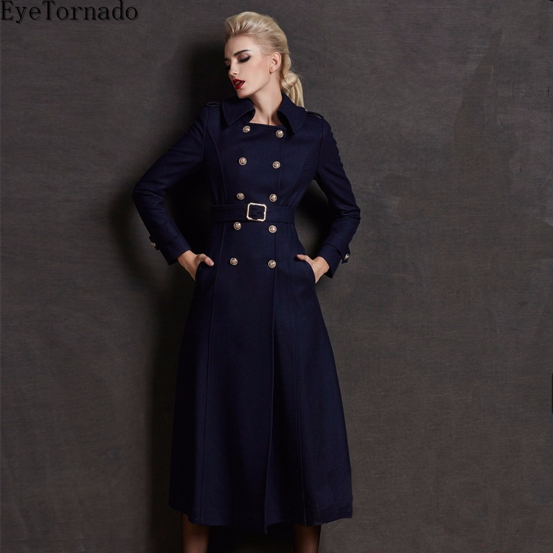 Women winter wool coat double breasted long elegant belted military wool pea coat plus size high qulaity thick coats 3xl