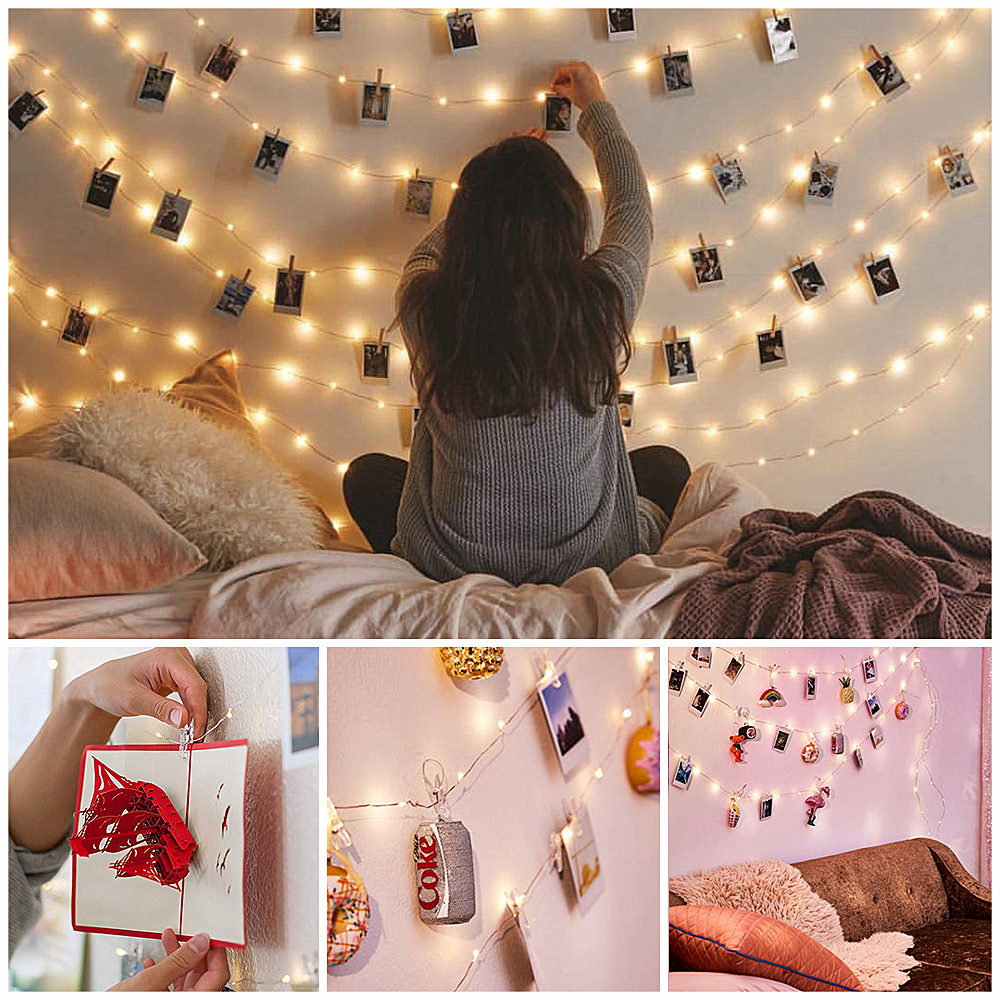 Fairy Lights Photo Clips LED Lights Decoration Outdoor Garland Christmas Party Wedding Light String Battery Luces Led Decoracion