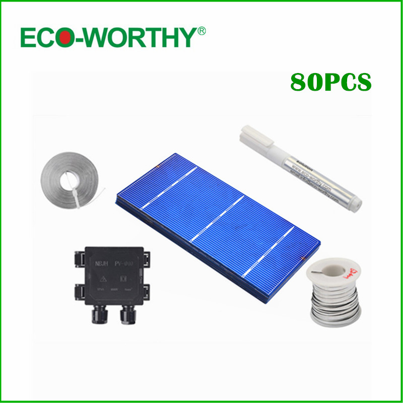 80pcs Polycrystalline 3x6 Solar Cells Cutting Grade Cell with  Junction Box Flux Pen for DIY 80W Solar Panels Power Supply thin films for solar cell applications