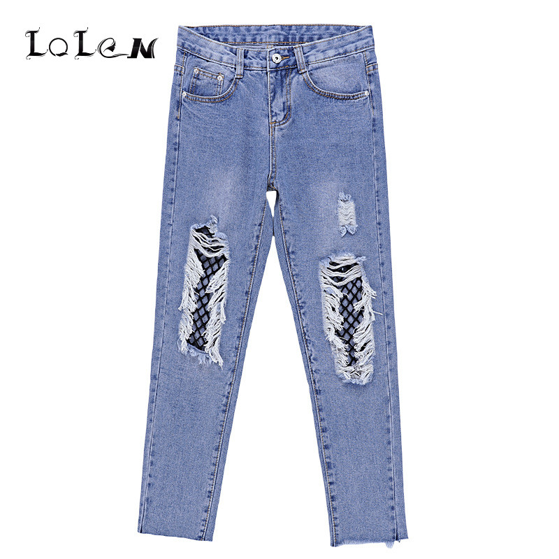 Bottoms Elastic Waist Fashion Casua Loose Holes Denim Pants Boyfriend Jeans for Women