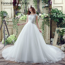 Forevergracedress Cheap High Quality Wedding Dress Crew Neck Cap Sleeve Lace Applique Long Bridal Gown Plus Size Custom Made