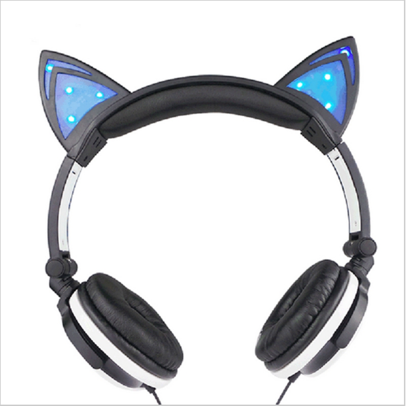 Foldable Flashing Glowing cat ear headphones Gaming Headset Earphone with LED light For PC Laptop Computer Mobile Phone high quality sound effect gaming headset with led light over ear glowing stereo headphones with mic for computer pc laptop gamer