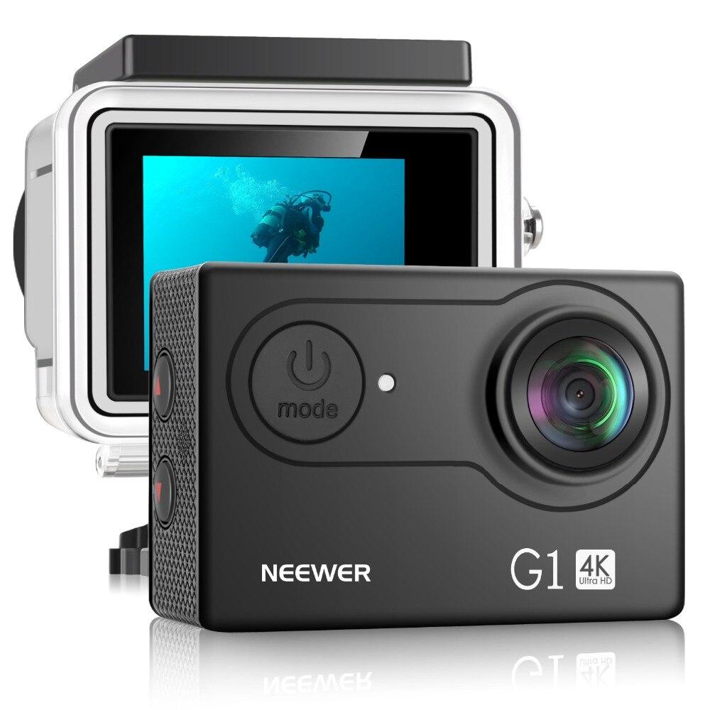 Neewer g1 ultra hd 4 k câmera de ação à prova dwaterproof água 170 graus grande angular wifi esportes cam sensor de 2 polegadas tela acessórios kit