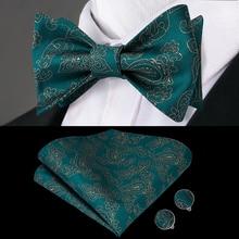LH-2024 Hi-Tie Classic Wedding Silk Woven Men Butterfly Self Bow Tie Green BowTie Pocket Square Hanky Cufflinks Suit Set