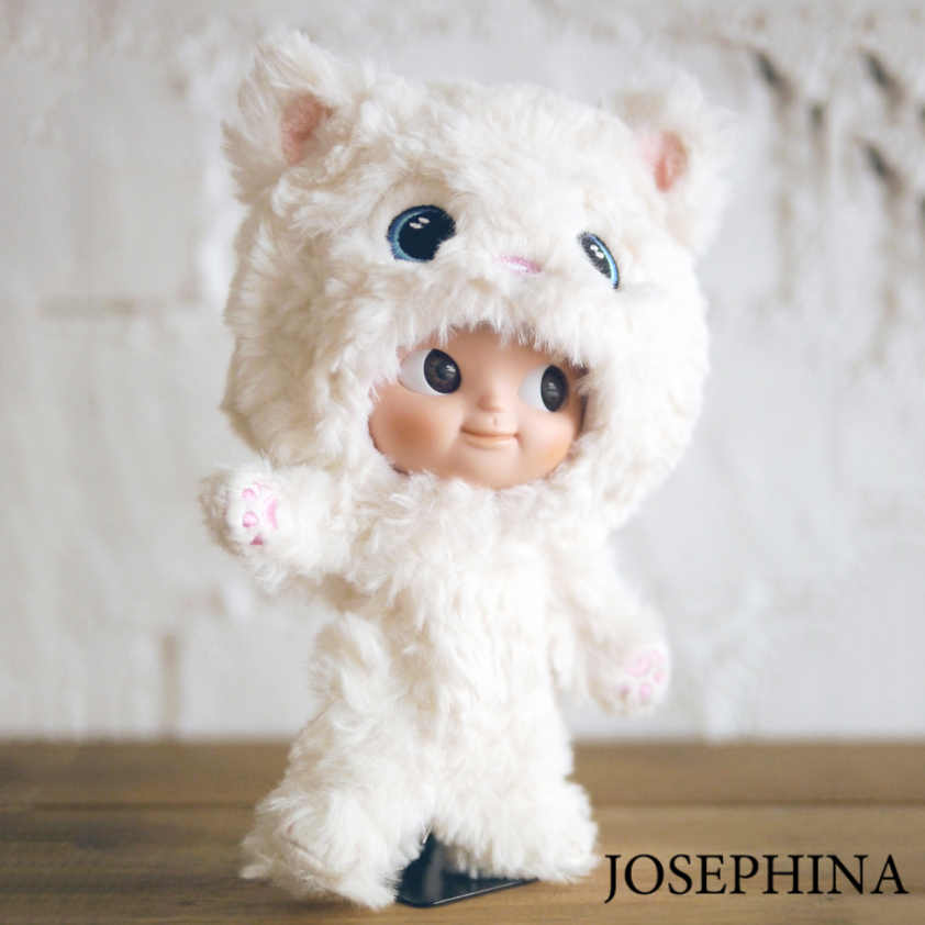 цена 18cm Jimusuhutu Doll Cute White Cat Coat Doll 6 Joints 3D Eyes Doll Gift for Girl Toy Figures