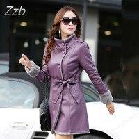 New Fashion 2018 Winter Women' Leather fur jacket Single breasted slim fur coat faux sheepskin jaqueta feminina jaqueta de couro