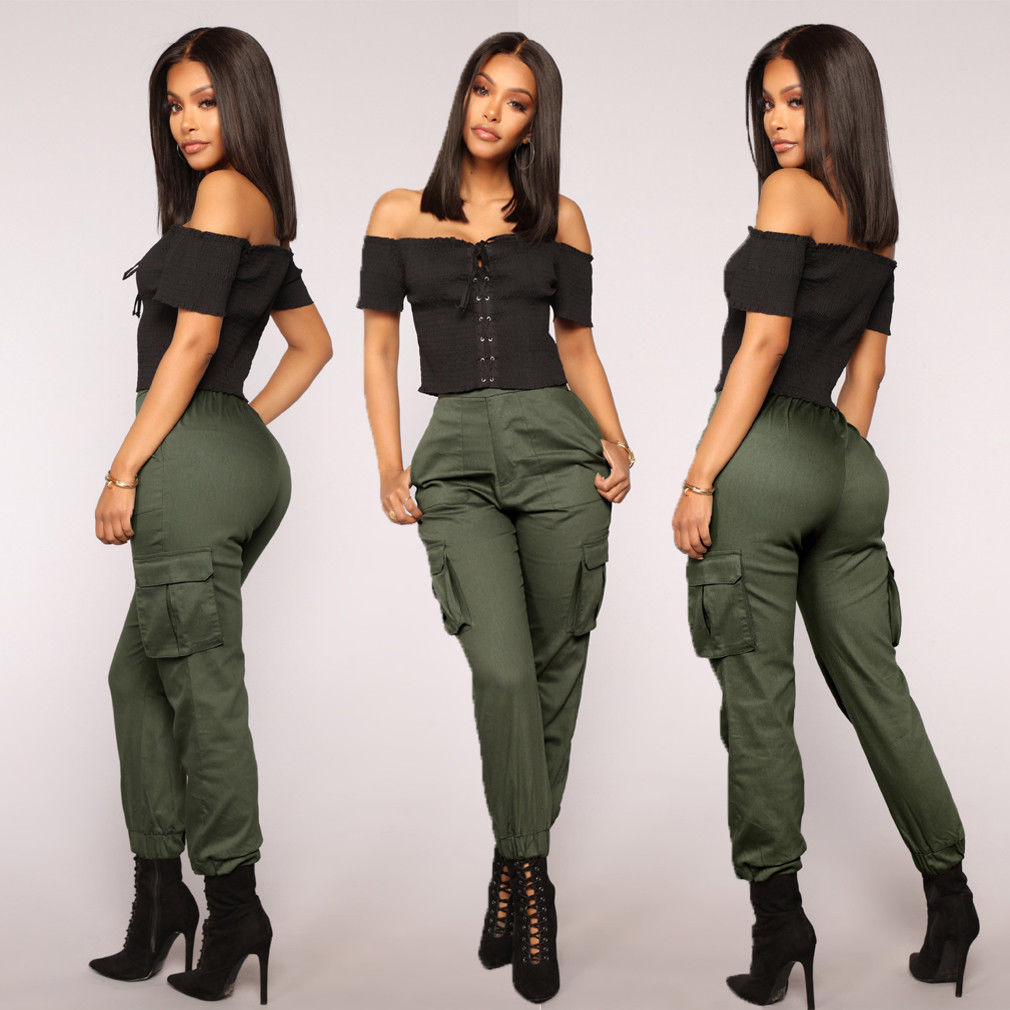 Autumn New Women Stretch Pants Fashion High Waist Cargo Pants Khaki Army Green Black Solid Long Trousers Casual Pants