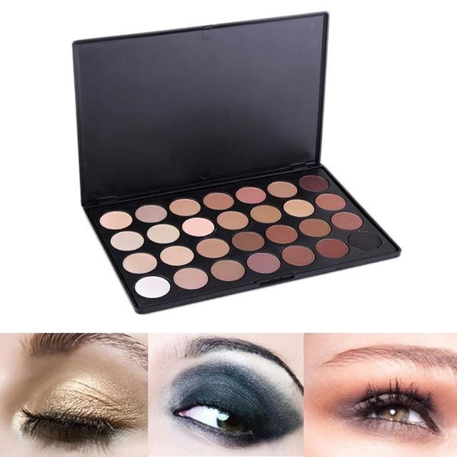 Neutral Warm Eyeshadow Palette Shadow Make Up Kit + 8pcs Eye Foundation Blending Brush 28 Color