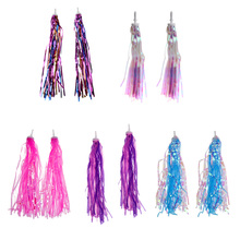 2Pcs Sparkly Tinsel Streamers Bike Bicycle Tricycle Handlebar Grips Decoration Tassels Kids Girls Boys