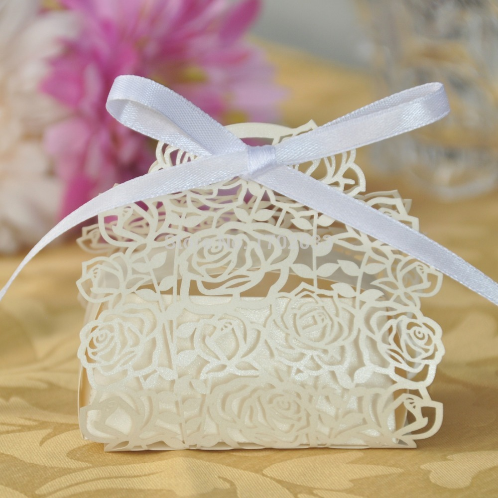 120PC/lot Laser Cut Rose Paper Candy Box Souvenirs Baby Shower New ...
