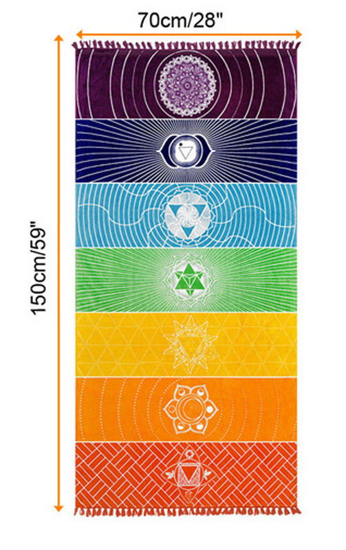 Dropship! Single Rainbow Chakra Tapestry Towel Carpet Mandala Boho Stripes Travel Yoga Mat Outdoor Mats 150x70cm/100x45cm 16