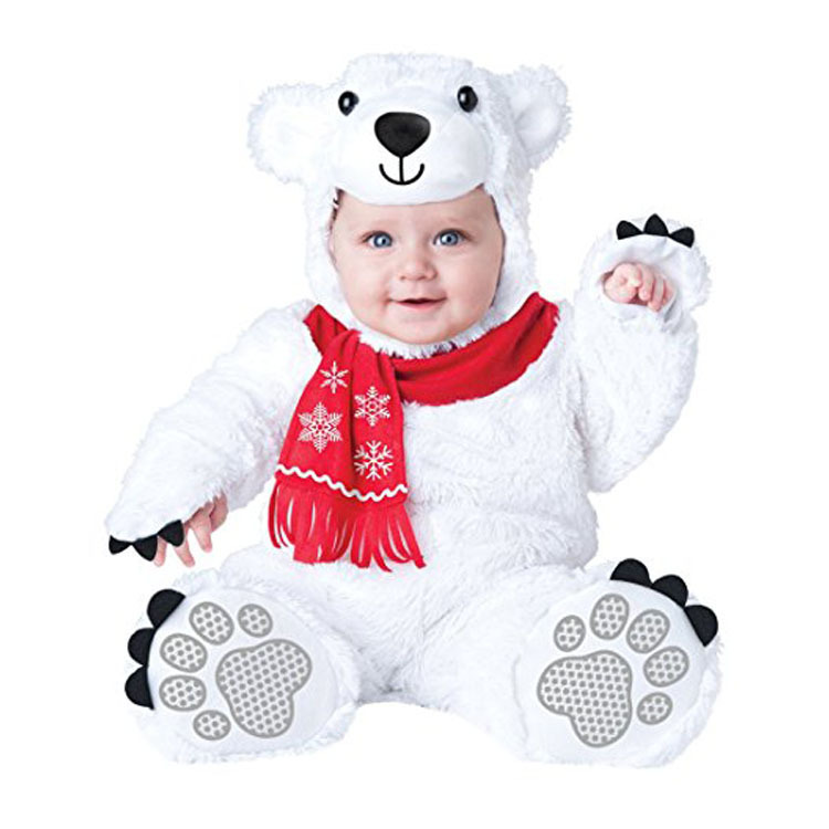 White Bear Baby Boys Girls Animal Cosplay Rompers Toddler Carnival Halloween Outfits Costume For Girls Jumpsuits Infant Clothes kids clothes fleece romper set baby boys girls jumpsuits overalls 2015 winter animal cosplay shapes halloween christmas costume