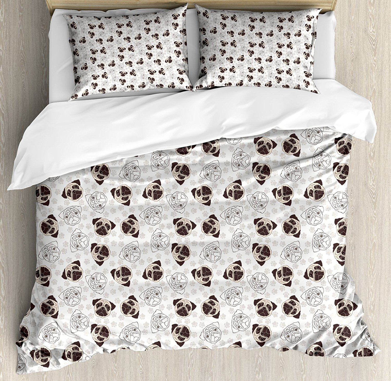 Dog Duvet Cover Set Pug Portraits Traces Paw Print Background Canine Pet Illustration Mammal Animal 4 Piece Bedding Set