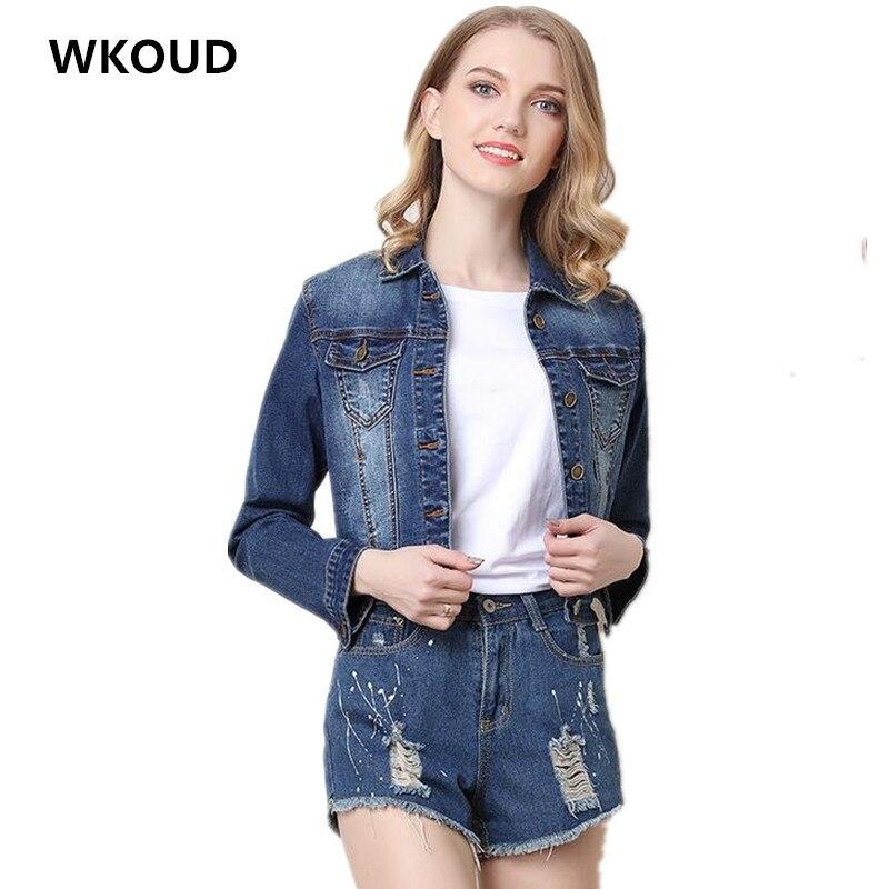 WKOUD Embroidery Denim   Jackets   Women's Fashion   Basic     Jacket   Vintage Short Jeans Coats Casual Streetwear Overcoat Outerwear C8006