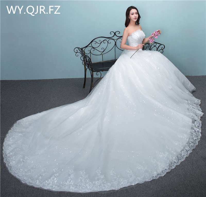 LYG-TH5#Trailing Long tail new lace up high-grade wedding party   dress   2018 gown prom Sweet Princess   Bridesmaid     Dresses   plus size