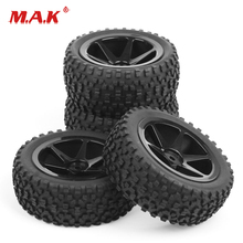 25036+27011 4Pcs/Set Rubber Front Rear Wheel Tires Rims with 12mm Hex fit 1:10Scale RC Buggy Off Road Car Model Toys Accessories