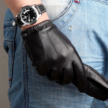 High Quality Men Genuine Leather Gloves Solid Adult Fashion Sheepskin Driving Glove Wrist Thermal Winter Free Shipping M017PQ-5