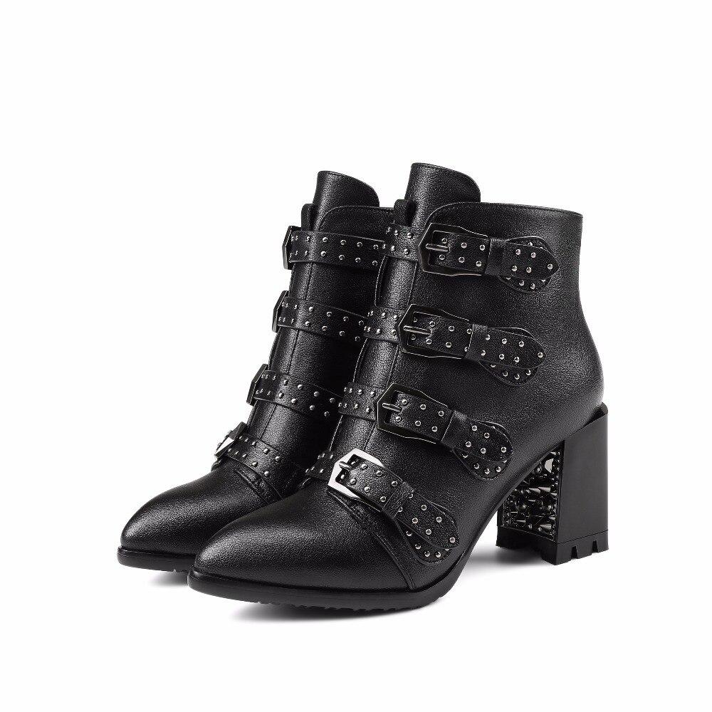 En Côté Rue Cheville Chaussures Cuir Bout Bottes Noir Sangle D'hiver Rivet Femmes 2018 Pointu Talons Zip Boucle Wetkiss Naturel Haute xXTv7qw1g