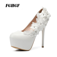 High heel women's shoes new autumn wedding shoes white lace high heels bridesmaid shoes sexy Platform shoes Big size 34 to 43 недорого