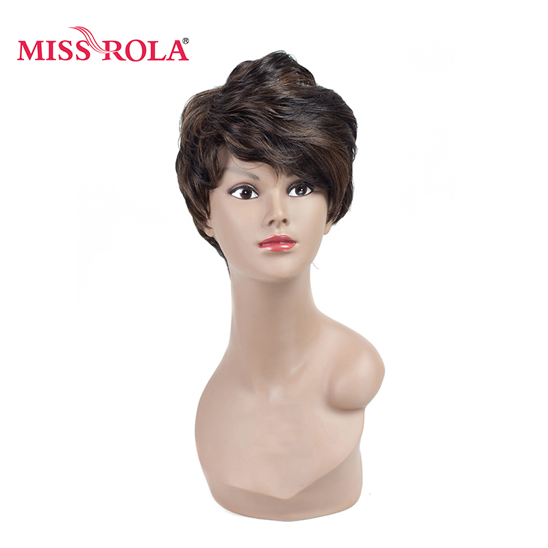 Miss Rola Short Synthetic Hair Wigs 1.5-4.5inch Japanese Heat Resistant Kanekalon Fiber Wigs 1pc Can Be Customized