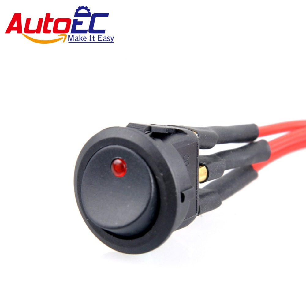 Buy Autoec 1x 3 Pins On Off Round Rocker Push 12 Volt Switch Illuminated Wiring Button Led With 63 Spring Plug Battery Cable Female For Car Truck Boat 12v From