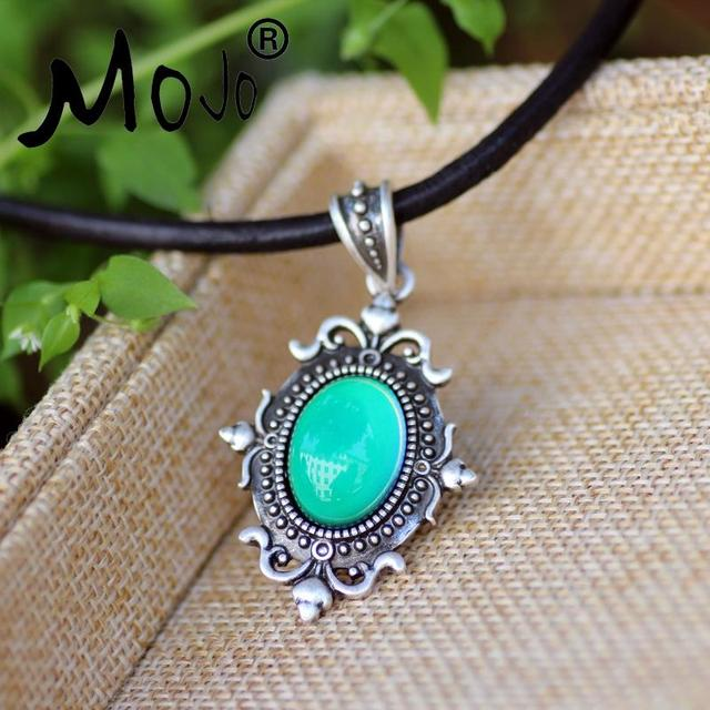 Vintage design in real antique plating mood pendant calf leather vintage design in real antique plating mood pendant calf leather rope mood color changing necklace silver mozeypictures Image collections