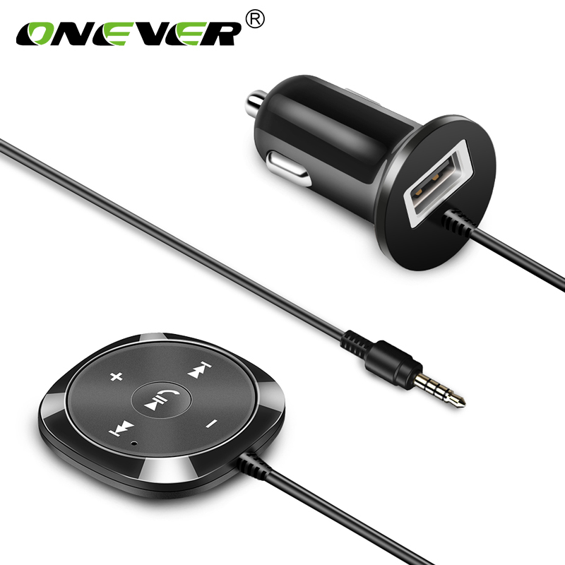 Onever Wireless Bluetooth Car Kit MP3 Player 3.5mm AUX Audio A2DP Music Receiver Adapter Support IOS Siri with 2.1A USB Output