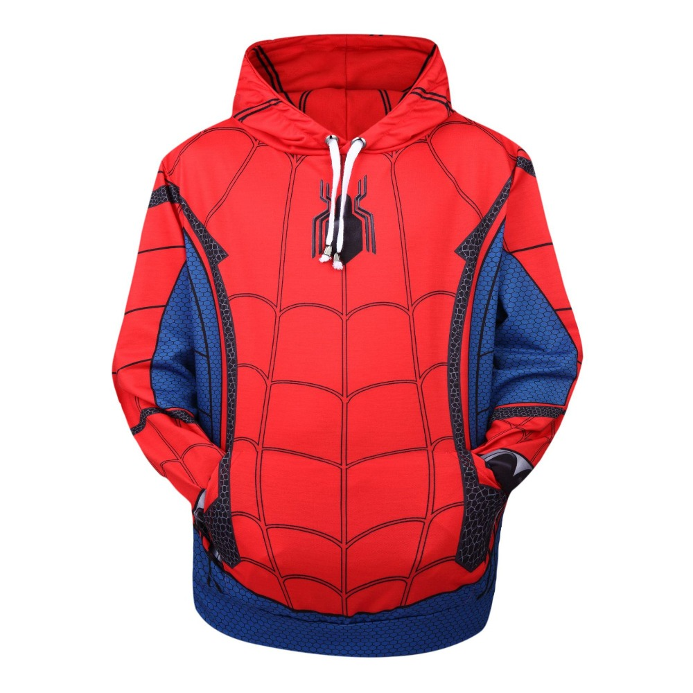 Movie Spider-Man Homecoming Cosplay Costumes Women Man Cotton Hoodies Peter Parker Spider Man Sweatshirts Jackets Coat Top