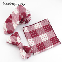 цена на Mantieqingway Fashion Handkerchief Necktie Bow Tie Set Cotton Jacquard Men Plaid Bow Tie Pocket Square Wedding Handkerchiefs
