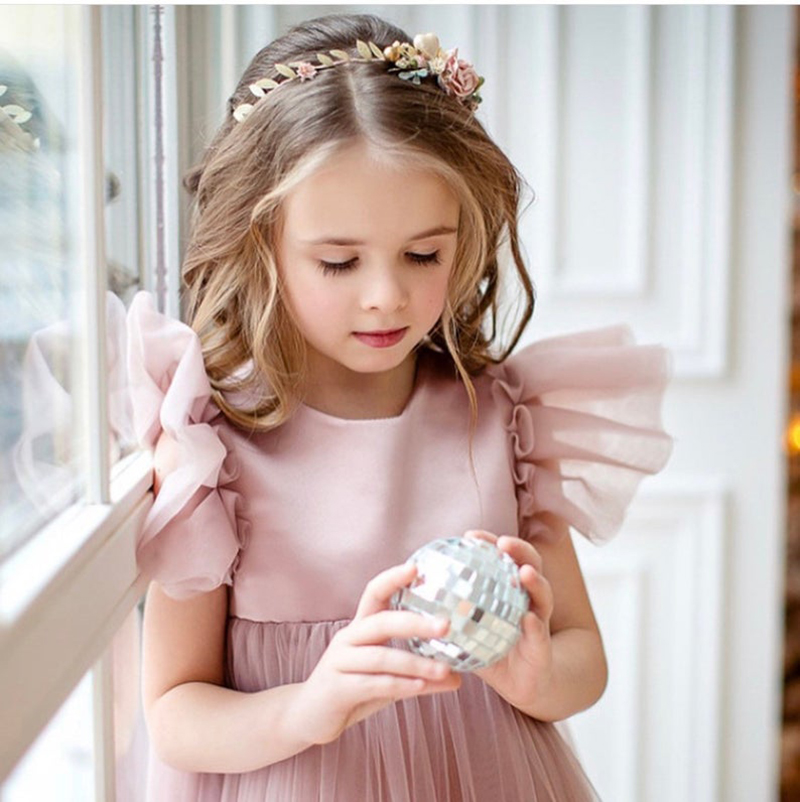 Smileven A Line nude   Flower     Girl     Dress   2019   Girl's   Birthday Party Pageant   Dress   Lace Appliques Wedding Party   Girl     Dress
