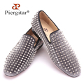 Piergitar 2016 new arrival Gray velvet men handmade shoes with silver rivets Fashion party and wedding men loafers male's flats