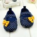 Дети девочки малышей горошек луки детская кровать в обуви Prewalker первый ходунки