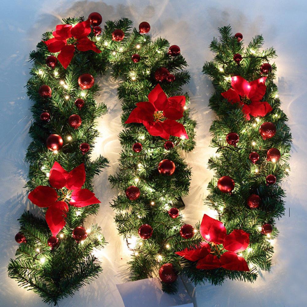 2 7m Led Wreath Christmas Decoration Rattan Garland String Lights