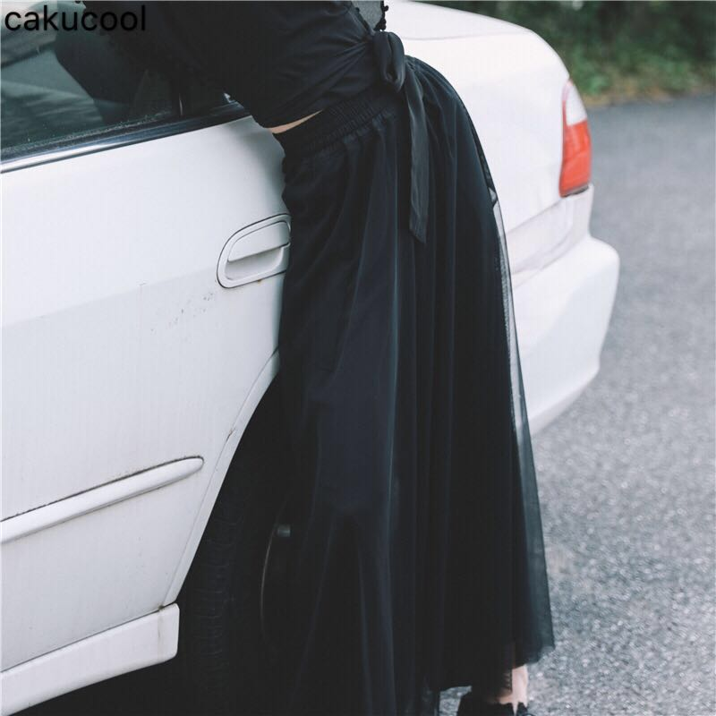 Cakucool Hoge taille gaas zwart buste broek 2019 herfst nieuwe koude wind retro losse breed been broek vrouwen broek-in Broek & capris van Dames Kleding op  Groep 1