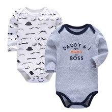 купить 2Pcs/lot Newborn Bodysuit Baby Girl Boy Clothes 100%cotton Cartoon print Long sleeves Infant Clothing  0-24 months дешево
