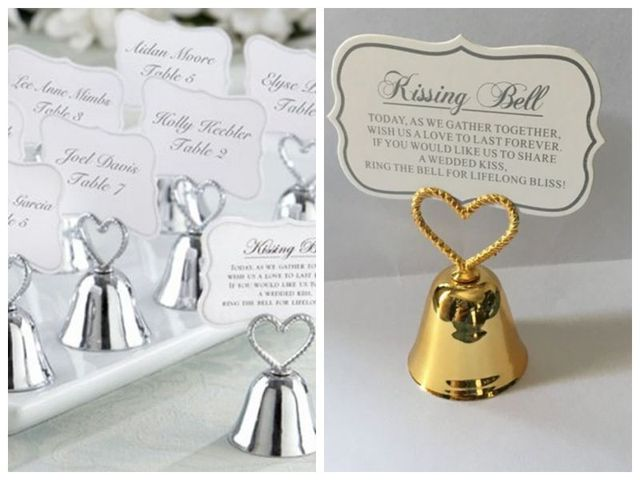 Wedding Banquet Decoration Gift Of Kissing BellSilver And Gold Heart Bell Place Card Holder For Photo Favors