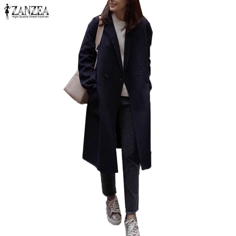 S-5XL ZANZEA Women Turn Down Collar Long Sleeve Pockets Button Fashion OL Gray Wool Blend Coat Winter Warm Long Overcoat Jacket stylish turn down collar long sleeve zip pockets women s black jacket