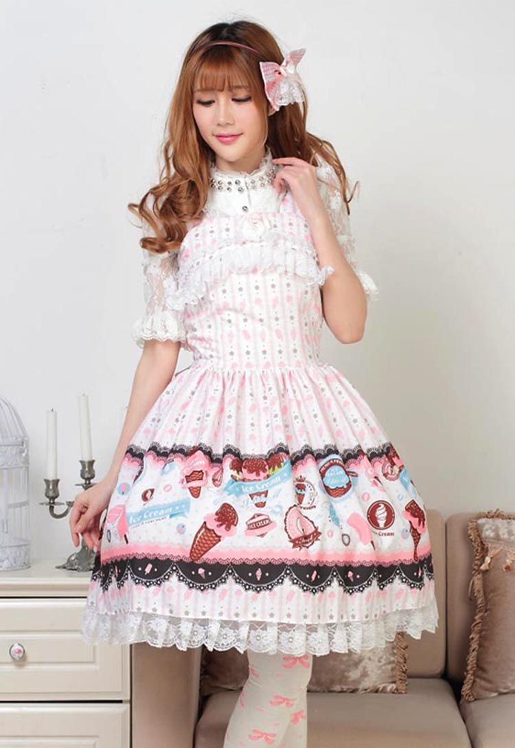 JSK Lolita Cute Lolita Costume Pretty Princess Lovely Print Lolita JSK Pink