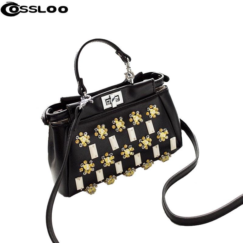 ФОТО COSSLOO Good fashion messenger bag beaded mini peekaboo bag leather famous brand designer women handbag femininas sac femme