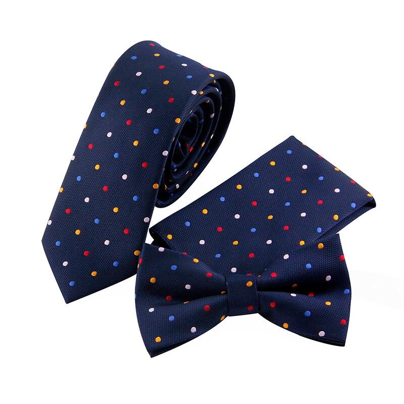 Dots Pattern Ties Bowtie Handckerchiefs Sets Men's Plaid Skinny Necktie Gravatas Vestidos Pocket Square Cravat