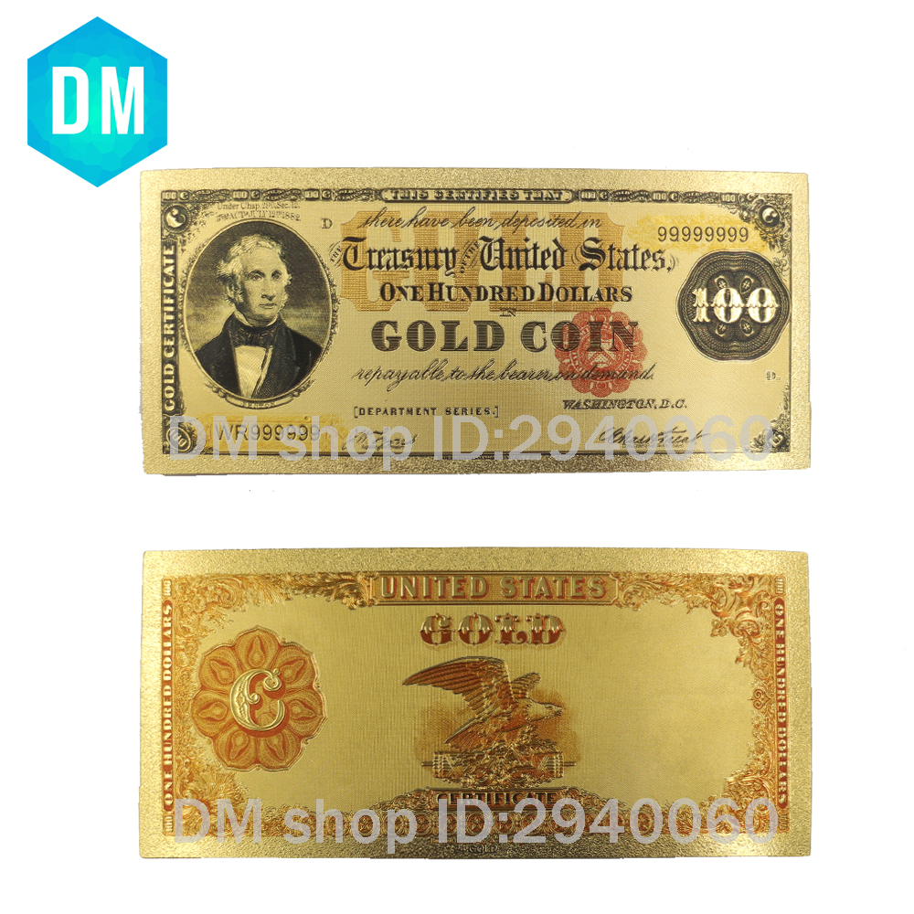 Hot Sale 1908 Year's Colour USA <font><b>Gold</b></font> Banknote <font><b>100</b></font> <font><b>Dollar</b></font> Banknotes Replica Money <font><b>Bills</b></font> <font><b>Gold</b></font> Plated Business Gift Collection image