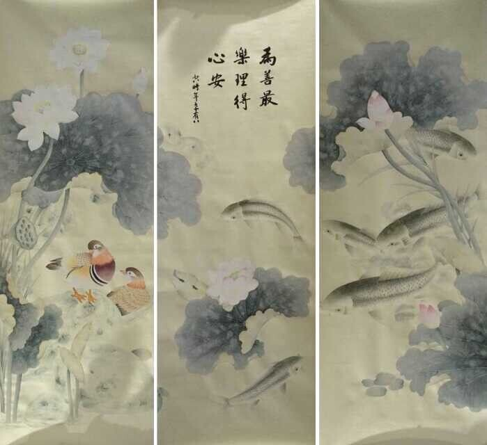 Hand-painted silk wallpaper painting lotus with birds and fishes hand painted wall paper TV/Sofa/livingroom/bedroom wallcovering