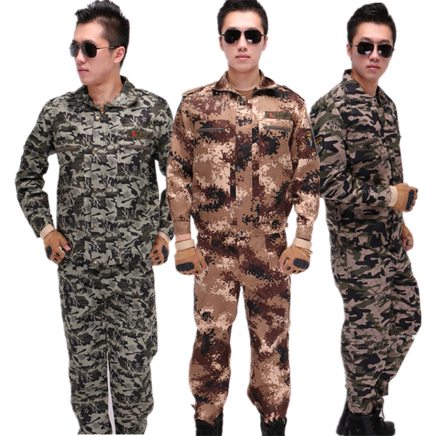 2019 Special Forces Army Clothing Men's Set Camouflage Military Uniform Tactical Long Sleeve Coat+Pants Wear-resistant Costumes