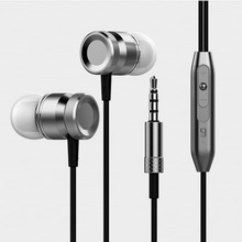 Q-BAIHE In-Ear Metal HiFi Wire 3.5mm Earphones Bass Music Earbud Sport Earphone With Mic Game fone de ouvido For Phone xiaomi Pc yincrow in ear earphone fones de ouvido rw 777 earbud flat head plug earplugs metal earphone headset for mobile phone